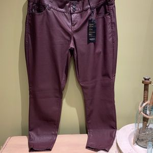Maroon faux leather pants NWT